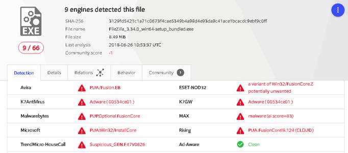 filezilla virus detected